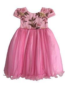 Vestido Infantil com Peito Bordado