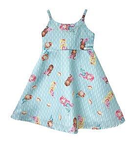 Vestido infantil estampado de alça