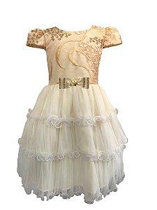 Vestido Infantil com Renda e Paetê