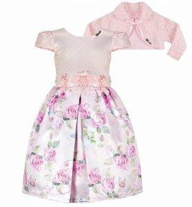 Vestido Infantil Casual c/ Gripir na cintura com bolero de pelo