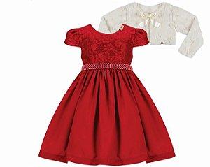 Vestido Casual c/ Renda e Cinto de Pérola com Bolero de Pelo