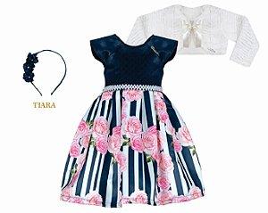 Vestido Infantil Casual Estampado Listra com Flores com Bolero de Pelo