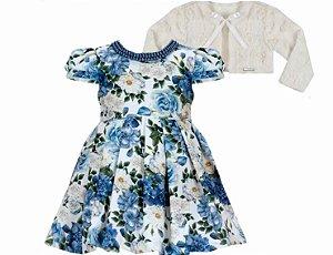 Vestido Infantil Casual Estampado c/ Gola Perola com Bolero de Pelo
