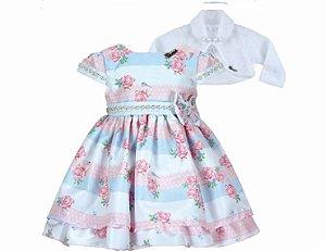 Vestido Infantil Chic com Bolero de Pelo
