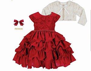 Vestido infantil Chic com Peito de Renda com Bolero de Pelo