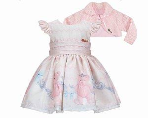 Vestido Infantil Básico com Barrado de Urso com Bolero de pelo