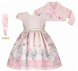 Vestido Infantil Casual Barrado Raposa com Bolero de Pelo