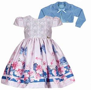 Vestido Infantil Casual c/ Barrado Gaiola com bolero de plush