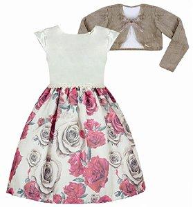 Vestido Infantil Casual c/ Saia de Flores com bolero de pelo