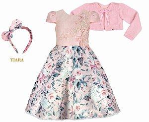 Vestido Infantil Chic Saia Gode com Bolero de Pelo