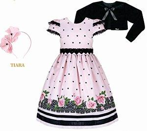 Vestido Infantil Casual c/ Cinto Corações com Bolero de Plush