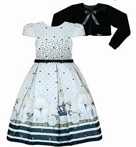 Vestido Infantil Casual Mini Coroas com Bolero de Pelo
