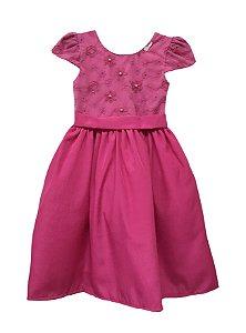 Vestido Infantil Pink tule bordado