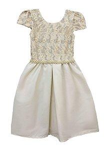 Vestido Infantil Peito de Tule Bordado