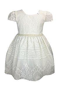 Vestido Infantil de branco de renda