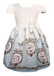 Vestido Infantil Estampa quadro de flores