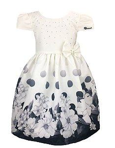 Vestido Infantil com barrado de flores e bolas