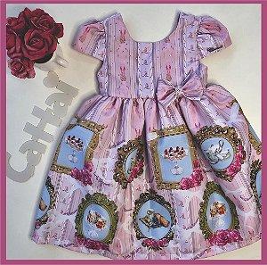 Vestido Infantil quadros e rosas