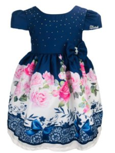Vestido Infantil Rosas e Laços