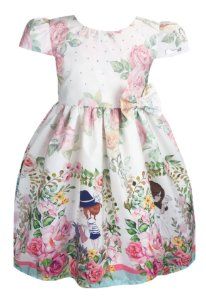Vestido Infantil branco florido com barrado tema jardim