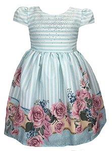 Vestido infantil listrado com barrado de flores