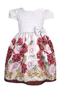 Vestido Infantil saia de rosas