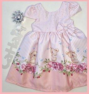 Vestido Infantil Listrado com Barrado de Urso