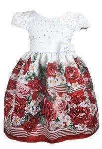 Vestido Infantil Saia de Rosas Vermelhas