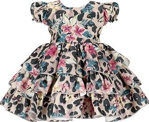 Vestido Infantil Chic Estampa de Onça