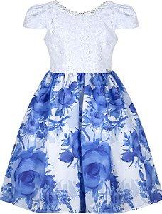 Vestido Infantil Casual com saia estampada