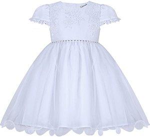 Vestido Infantil Casual Branco com Peito Bordado