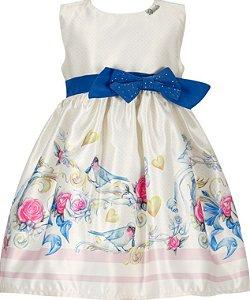 Vestido Infantil Casual com cinto e laço azul