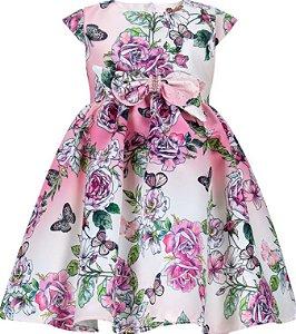 Vestido Infantil Chic com estampa de rosas e laço na cintura