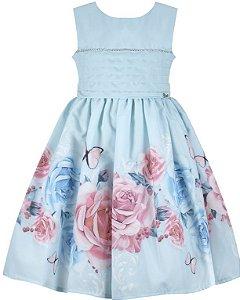 Vestido Infantil  Azul com peito de pregas