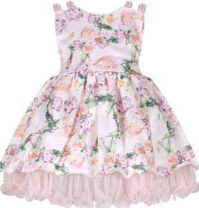 Vestido Infantil  com alça bordada