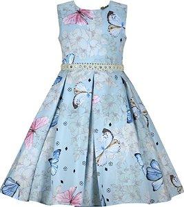 Vestido infantil com estampa de borboletas