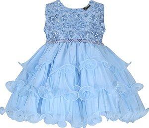Vestido Infantil de babados com peito de renda