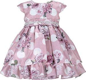 Vestido Infantil poá com estampa de rosas
