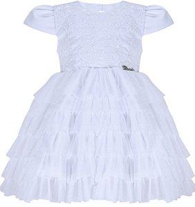 Vestido infantil Batizado Branco com babados de tule