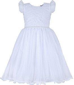 Vestido Infantil Branco com bordado no peito