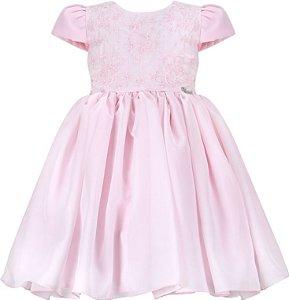 Vestido Infantil Casual com peito bordado