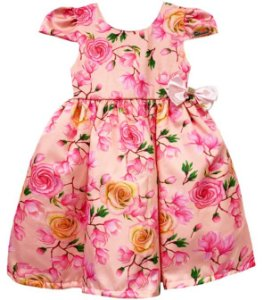 Vestido Infantil estampa rosas e flores