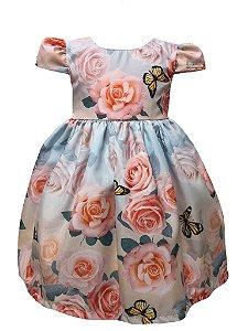 Vestid infantil floral com borboletas