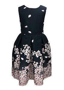 Vestido Infantil preto com barrado de flores