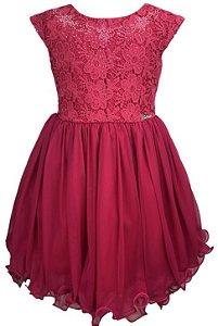 Vestido Infantil Pink com peito de renda