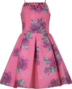 Vestido Infantil de alça com estampa de rosas