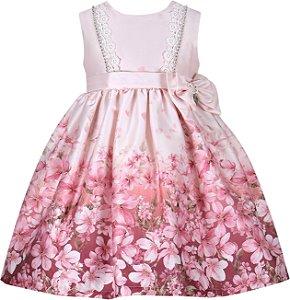 Vestido Infantil Casual Barrado de Flores