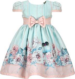 Vestido Infantil Casual com barrado de passarinhos