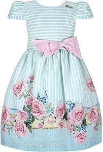 Vestido infantil casual listrado com barrado de flores