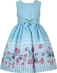 Vestido infantil casual azul com barrado de flores